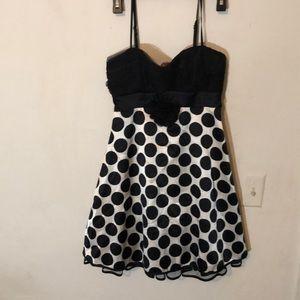 Black and white polka dot thin strap  dress NWT